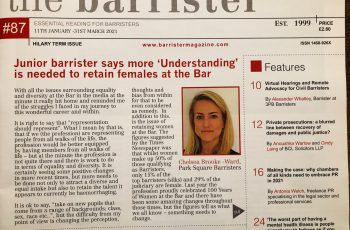 "Chelsea Brooke-Ward writes article for The Barrister magazine – ""Understanding is needed to retain females at the Bar"" image"